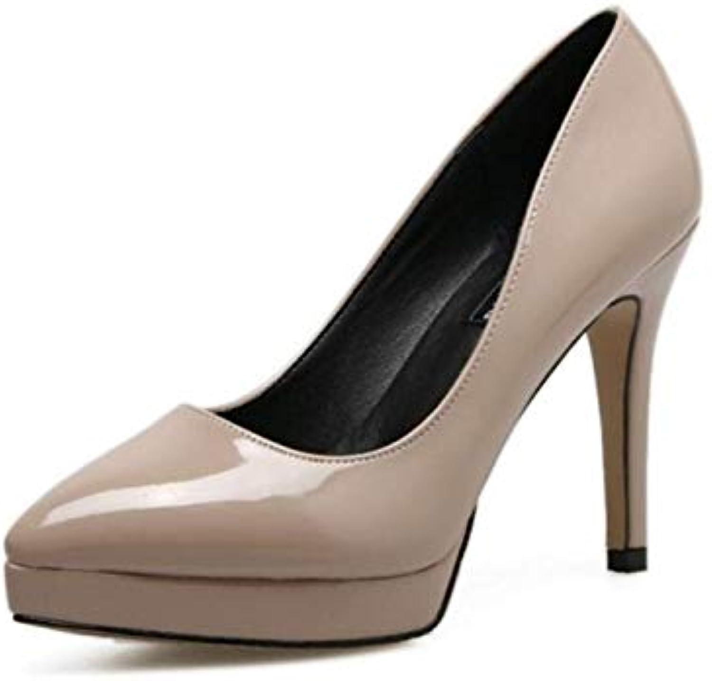 Willsego Chaussures Chaussures Chaussures à Talons Hauts Sexy en Cuir Verni pour Femmes (coloré : Nu, Taille : 36)B07K9V3Y3BParent 1d4b4e
