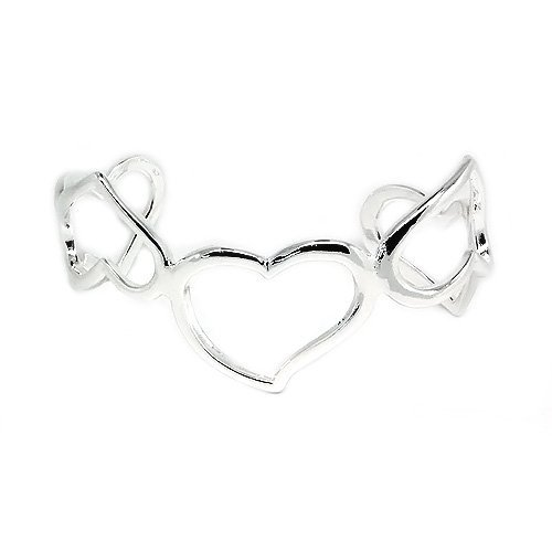 Fashionable and Stylish Silver Heart Bangle