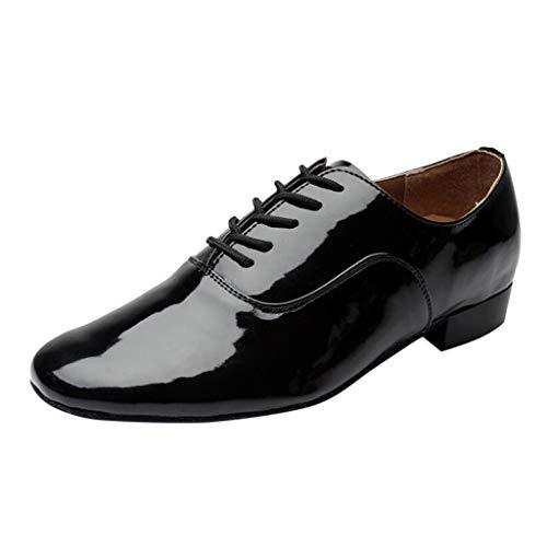 Herren Tanzschuhe Schwarz Weiß,Dasongff Männer Schnürung Leder Farbe Latein Ballroom Tango Dance Schuhe Standard & Latein