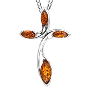 Baltic Honey Amber Sterling Silver Cross Pendant Rolo Chain 46cm