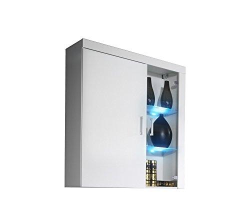 Hängevitrine SAMBA, Hochglanz, mit LED Beleuchtung (Weiß / Weiß Hochglanz)