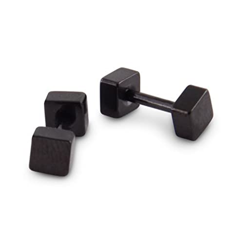 Urban Male Schwarze Quadratische Ohrstecker, für Männer (Paar) 4mm