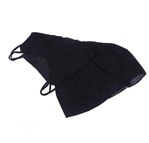 HYHAN Mousseline de soie Robe sans manches Ladies Fashion Slim vrac Strap plage Clubbing Dress Robes d'été Black