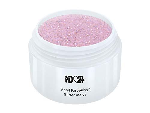 Acryl Farbpulver Glitter malve ROSA - nd24 BESTSELLER - Feinstes FARB Acryl-Puder Acryl-Pulver Acryl-Powder - STUDIO QUALITÄT - Rosa Acryl Pulver