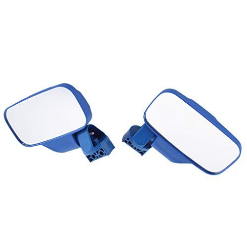 B Blesiya 2 Stücke Spiegel, Links und rechts inklusive Spiegel, Klemmen und Montage benötigter Hardware für Honda Pioneer 1000 - Blau