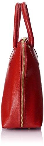 CTM Tasche Frauen Handtasche inspider Druck Schlag, 38x28x10cm, echtes Leder 100% Made in Italy Rot (Rosso)