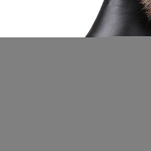 VogueZone009 Damen Rein Pu Leder Hoher Absatz Reißverschluss Rund Zehe Stiefel Schwarz