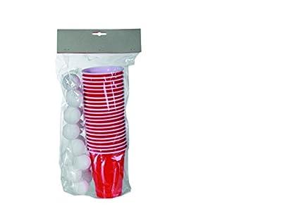 Out of bleu 79/3936 - Jeu à boire, Beer Pong, 15 Balles et 22 Tasses pour, ca 550 ml im Sachet en polyéthylène avec Headercard