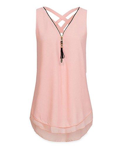 ASKSA Damen Chiffon Bluse Ärmellos Reißverschluss V Ausschnitt Rückenfrei Tank Tops T-Shirt (Rosa, 3XL)