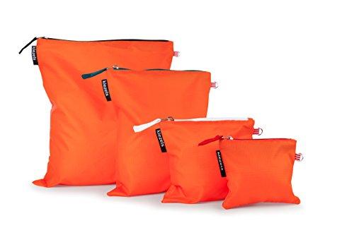 kiezels - 4er-Set leichte Reißverschlusstaschen, organizertaschen – 4 Verschiedene Größen - orange