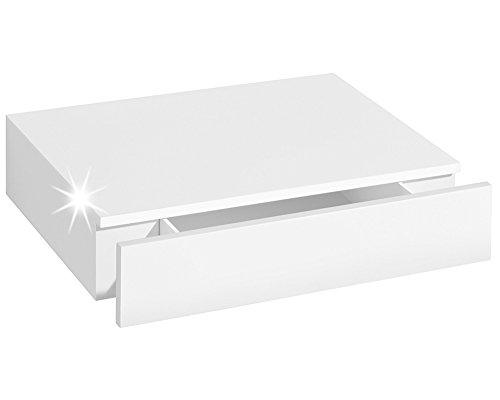 Wandregal mit Schublade   CASSETO   45x25x8 cm- weiß hochglanz