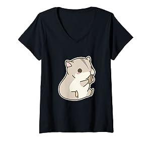 Mujer Hámster Kawaii Camiseta Cuello