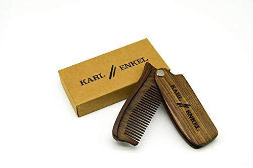 KARL & ENKEL Klappbarer Bartkamm aus Sandelholz für alle Barttypen: professionelle Bartpflege für Herren - ideal für unterwegs