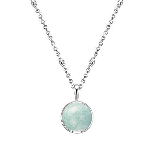 Glanzstücke Damen-Kette Sterling Silber mit Anhänger Amazonit grün Länge 40 cm + Verlängerung 5 cm - Edelsteinkette für Frauen Heilsteine Amazonite