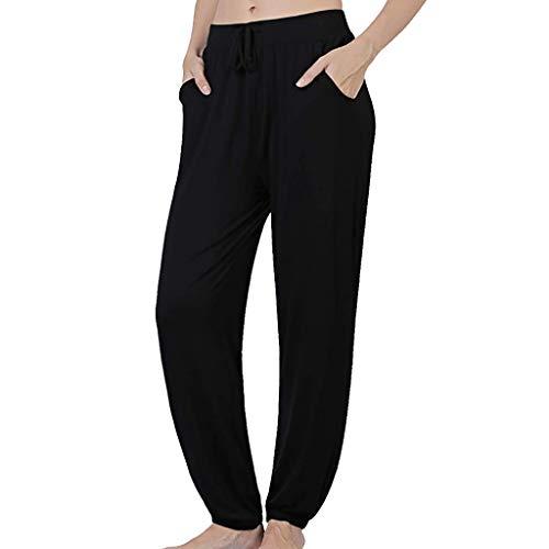 ZEELIY Damen Hosen,Pyjama-Hose für Damen Baumwolle Stretch Knit Lounge Pants Bottoms lose Yoga Reise Lounge Festival Strandhosen,Lässige Yoga-Hosen für Damen -