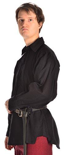 Hemad Herren Landsknecht Hemd mit Kragen S-XXXL Landsknechthemd Schwarz