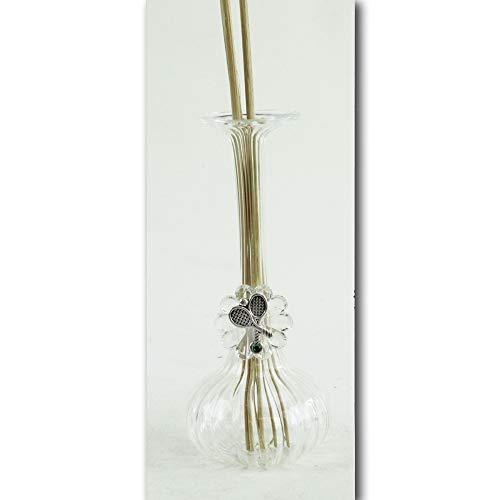 Dlm27381 diffusore in vetro soffiato e cristallo coppia racchette racchetta tennis bottiglia profumatore bomboniera