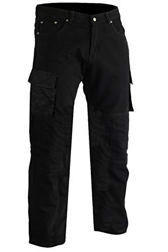 GermanWear® Motorradhose Motorradjeans, Futter aus Kevlar® stoff Cargohose mit Protektoren schwarz, Jeansgröße:W32 / L32