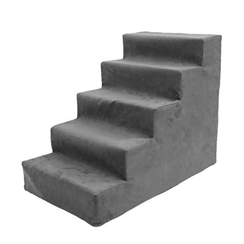 Pet Treppen- Große Haustier Treppe 5 Schritt Schemel Hundetreppe Für Hohes Bett, Mittlere Hunde Haustier Katze Für Sofa, Schwamm-Wildleder (Farbe : Gray) -