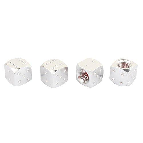 TOMALL Reifenluftventil Staubdicht Kappen, Würfel Stil Reifen Ventilkappen für Auto MOTO Fahrrad Aluminiumlegierung Silber 4 stücke