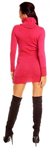 Zeta Ville - Mini robe moulante en maille col roulé coupe ajustée - femme 178z Fuchsia
