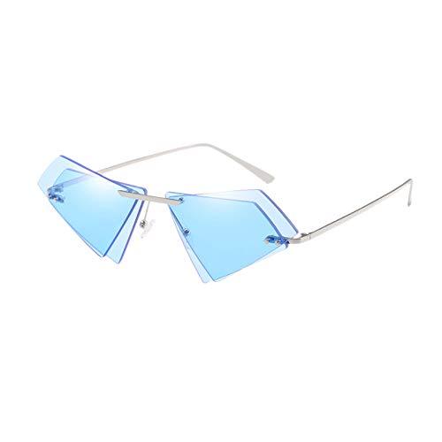 TOOGOO Mode Randlose Katze Augen Sonnen Brille Frauen Kleine DREI Eckige Sonnen Brille Weibliche Berühmte Marke Unregelm??ige Doppel Objektiv Brillen Blau