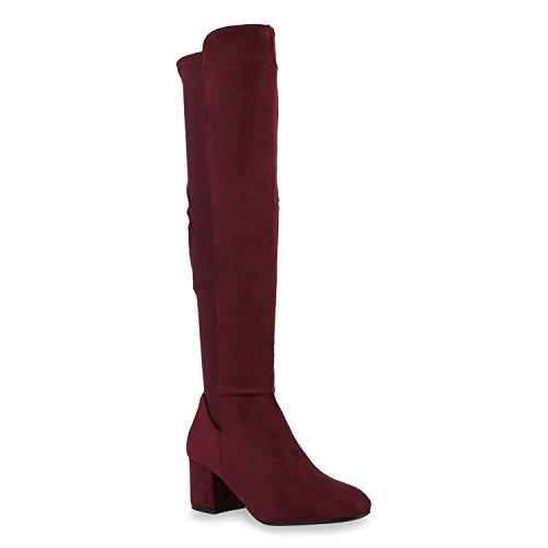 Damen Stiefel Overknees Klassische Stiefel Wildleder-Optik Schuhe 144716 Dunkelgrün Camiri Bernice 39 Flandell