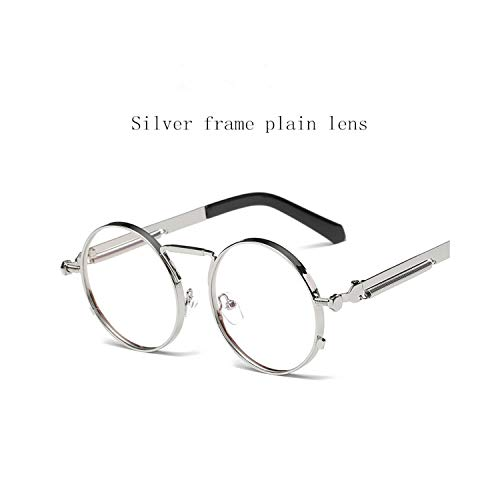 Sports Eyewear, NEW Fashion European American Trend Retro Circle Punk Men Women HD Sunglasses Italy Designers Desig Non-Mainstream Glasses Silver frame - plain