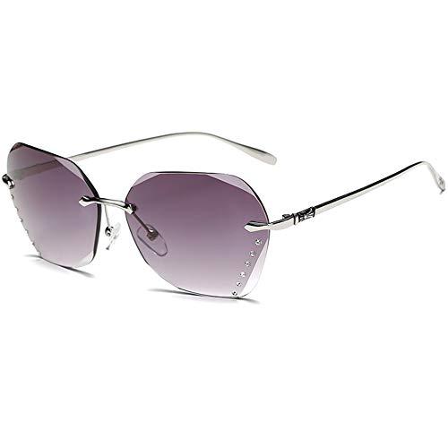 RZJ-Lady sunglasses Frauen polarisierte rahmenlose Sonnenbrille Diamond Cut Edge Farbverlauf Ocean Farbe Large Frame Sonnenbrille UV-Schutz UV400 Driving Outdoor-Brille,Purple