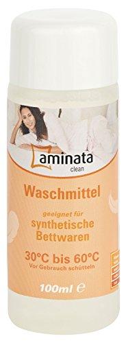 Aminata Clean – Waschmittel für Synthetische Bettwaren | 100 ml flüssiges Spezialwaschmittel für Kissen und Decken| Reinigungsmittel Waschpulver
