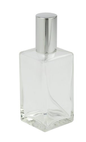Fantasia 46192 Square Bottle Clear Glass with Spray Pump and Cap for 100 ml Silver