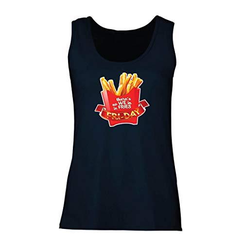 Top Es gibt Keine wir in Pommes Freitag Outfit Junk Food Liebhaber (XX-Large Blau Mehrfarben) ()