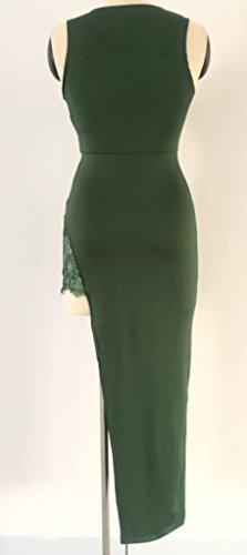 Damen Cocktailkleid Wickeloptik Etuikleider Die Neue Tiefem V-Ausschnitt Ärmellos Taille Stretch Geöffnete Gabel Irregular Spitze Stitching Einfarbig Grün