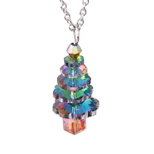 Mon5f Home Pullover Halskette, Weihnachtsbaum Gefälschte Kristall Anhänger Frauen Schmuck Geschenk Kette Halskette - Silber (Color : Silver)