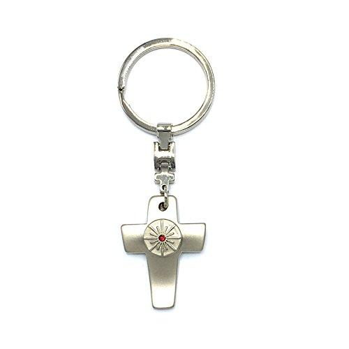 GILDE Handwerk Schlüsselanhänger mit Kreuz Kruzifix Kommunion Konfirmation Strassteinchen (Steinchen Rot)