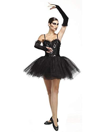 Tutu Kostüm Kleid Schwarz - shoperama Damen Kostüm Gothic Ballerina Black Swan Schwanensee Schwan Schwarz Korsage Tutu Armstulpen Halloween, Größe:M