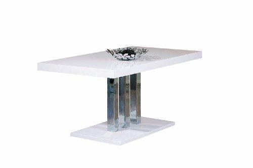 Links blanco 28 - tavolo. dim: 160x90x75,5 h cm. col: bianco, cromo. mat: mdf, metallo.