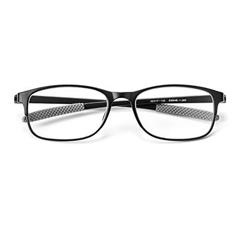 HQMGLASSES Herren-Lesebrille mit Ermüdungsschutz, HD-Harzglas, ultraleichter TR90-Rahmen gegen blaues Licht, bietet Eltern 1,0 bis +3,0,Schwarz,+2.0