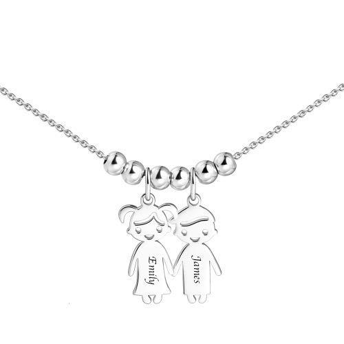 Namenskette silber für mütter1-5 Charme kette mit namen der kinder Anhängern und Wunschgravur muttertagsgeschenk basteln mit kindern (Charme-kette)