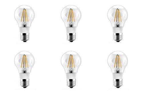 12vmonster 6Pack 100V 130V Warm Weiß LED Filament Glühbirne A19E26E27-Sockel Fassung Lampe A19Leuchtmittel, e27, 4 wattsW -