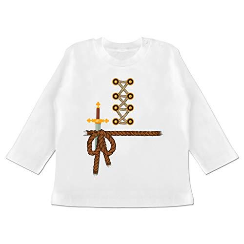 Faschingkostüm Ritter - Karneval und Fasching Baby - Ritter Kostüm Fasching - 12-18 Monate - Weiß - BZ11 - Baby T-Shirt Langarm