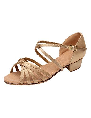 besbomig Tanzschuhe Mädchen Latein Dance Schuhe Niedrige Ferse Ballsaal Performance Sandalen - Gemütlich Standard Samba Salsa Schule Fitness Schuhe