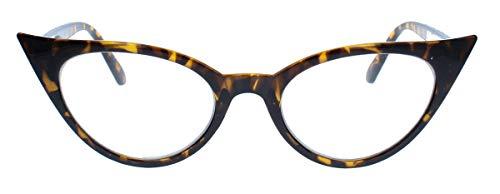 50er Jahre Fashion Brille im Vintage Look Rockabilly Brillengestell Nerdbrille Klarglas KK37 (Mod.2 : Hornbrille Leo)