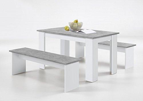 Dreams4Home Sitzgruppe 'Irene I' - Set, Essgruppe, Tischgruppe, 2 Bänke, Maße je Bank: B/H/T: 138x44,5 x37 cm, Esstisch B/H/T: 138x74,5x80 cm, modern, Küche, Esszimmer, Küchenmöbel, Esszimmermöbel, Melamin, Beton LA/Weiß (Esszimmer Set Bank)