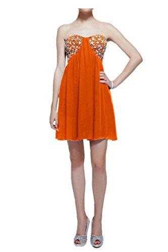 TOSKANA BRAUT Empire Damen Abendkleider Kurz Chiffon Tanz Cocktail Party Abiballkleider Orange