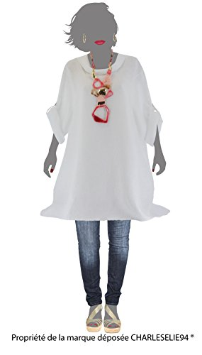 Charleselie94® - Tunique longue lin grande taille bohème blanc REGLISSE BLANC Blanc