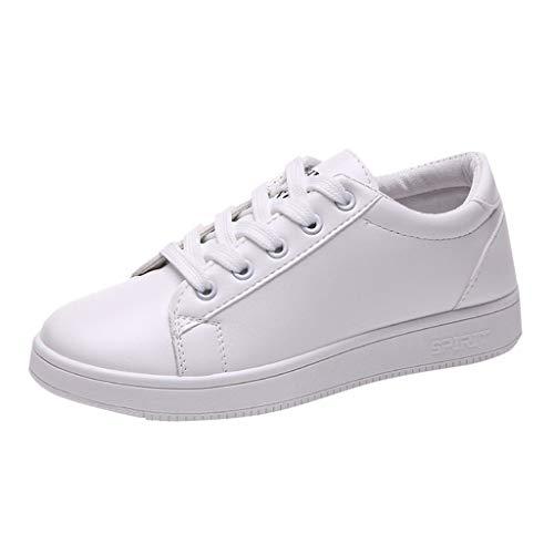 fazry Baskets Mode Femme - Chaussures de Sport Chaussures Simples Populaire Casual Facile à Assortir Élégant Chaussures Femme(Blanc,37