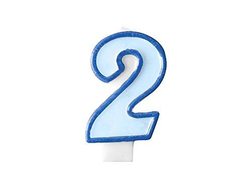 Geburtstags- Kerze Zahl 2 blau Jungen