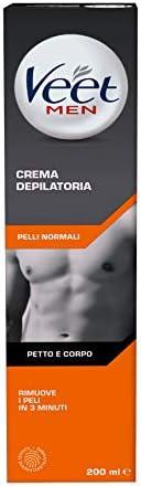 Veet Men, Crema Depilatoria Uomo, Pelli Normali, 200 ml, L'imballagio può var