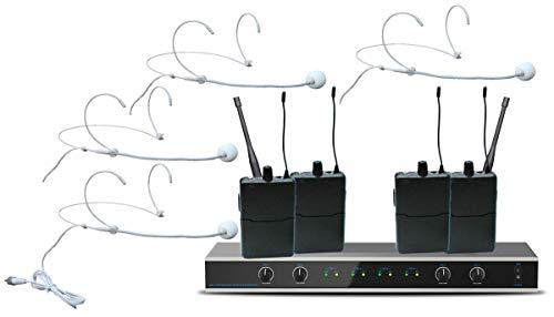 E-Lektron IU-4011H digital UHF Funkmiktrofon System mit 4x Headset-Mikrofon inkl. Taschensender drahtlos Set